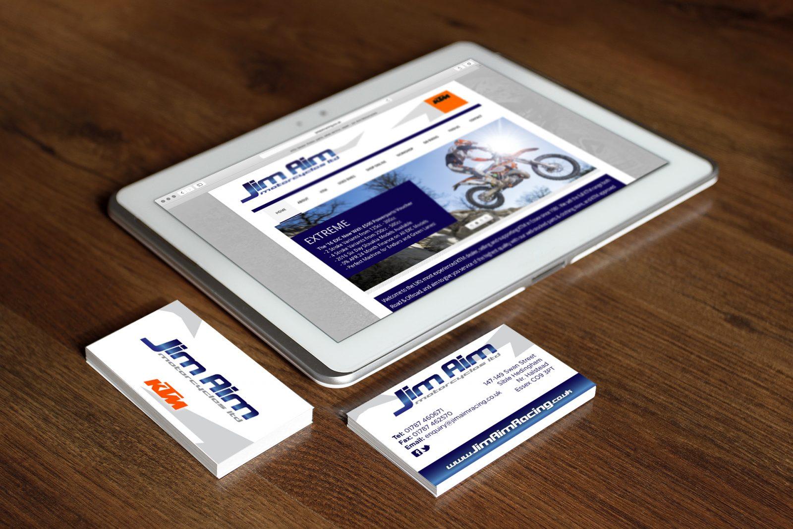 Jim Aim Motorcycles, Sible Hedingham, Essex, Graphic Design, Digital Print, Website Design