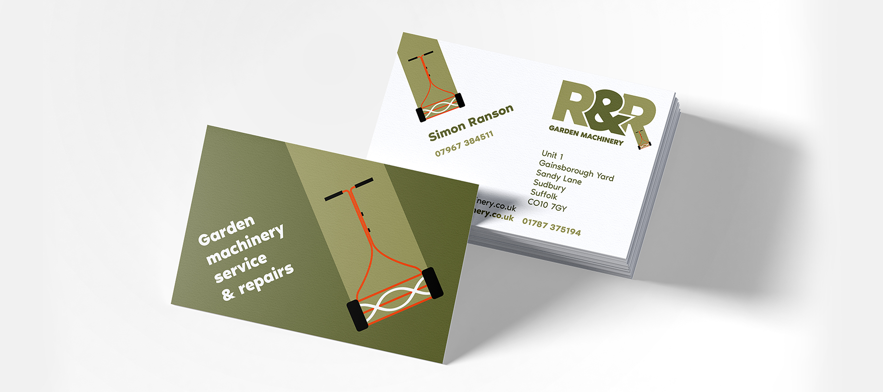 R&R Garden Machinery, Business Cards, Indigoross, Sudbury, Suffolk