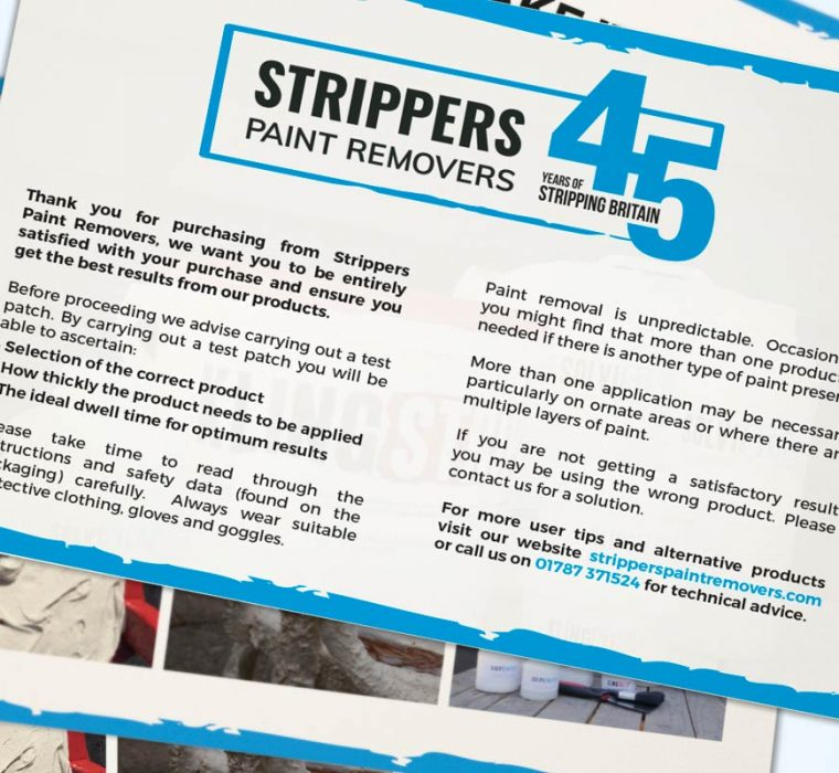 Strippers Paint Removers - Leaflets - Postcards - Postcard Printing - Digital Print - Graphic Design - Sudbury - Suffolk