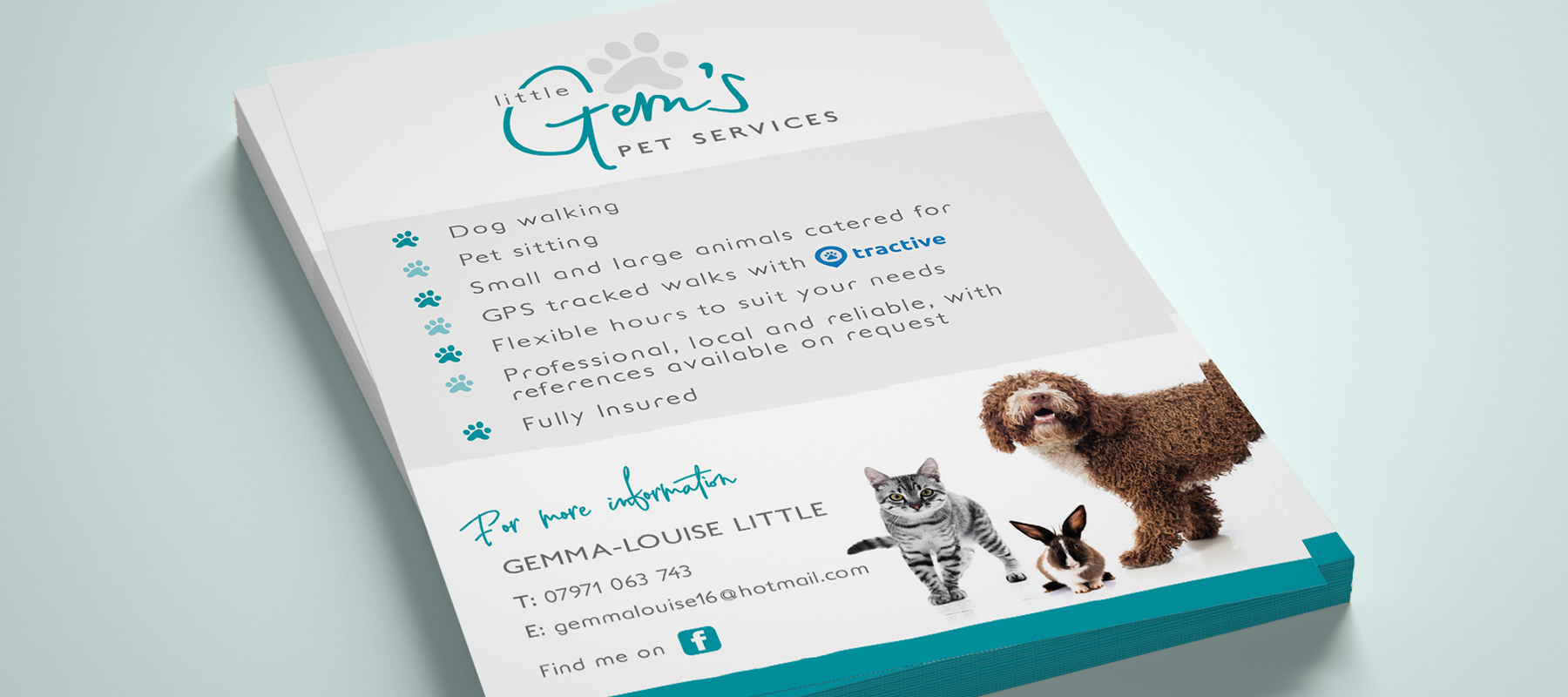 Little Gems Pet Services - Leaflets - Flyers - Flyer Design - Leaflet Design - Digital Print - Graphic Design - Sudbury - Suffolk