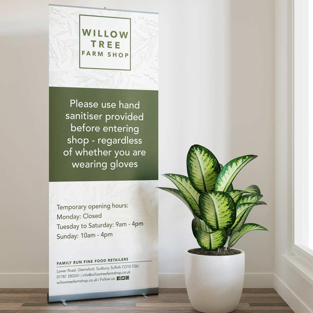 Willow Tree Farm Shop - Roll Up Pop Up Banner - Glemsford, Suffolk
